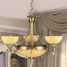 Krone in Bronze mit cremegelben Glasschirmen