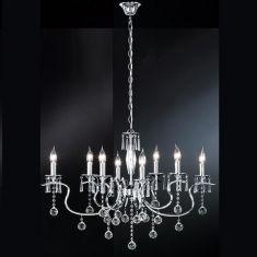 Kronleuchter Diamant  , klare Glasprismen, oval, 8 flammig