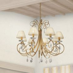 Kronleuchter im Florentniner Stil - Made in Italy - Silber oder Gold Antik - 8-flammig - Mit Stofflampenschirmen