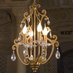 Kronleuchter  4-flammig  Blattgold - Bleikristallbehang