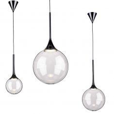 Kugel LED Pendelleuchte Glas schwarz/ transparent
