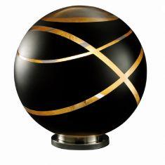 Kugel Tischleuchte Faro aus schwarzem Glas, Ø 50cm