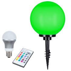 Kugelleuchte Ø30cm mit Erdspieß und LED mit RGB Farbwechsel