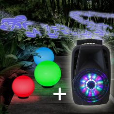 Kugelleuchten 3er Set light 30,40,50cm + RGB-Leuchtmittel & Soundanlage