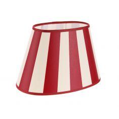Lampenschirm aus Stoff in Creme mit roten Streifen ovale Form Aufnahme E27 unten