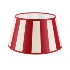 Lampenschirm aus Stoff in Creme mit roten Streifen rund Ø 25cm Aufnahme E27unten