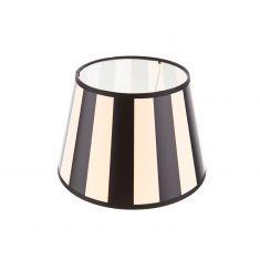 Lampenschirm aus Stoff in Creme mit schwarzen Streifen rund Ø 20cm Aufnahme E27 unten