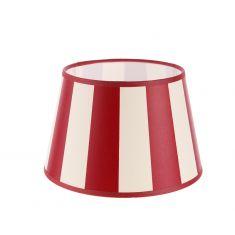 Lampenschirm aus Stoff in Creme mit roten Streifen rund Ø 20cm Aufnahme E27unten