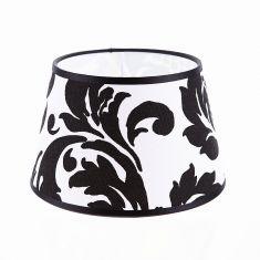 Lampenschirm aus Stoff mit Barockdekor in Schwarz-Weiß rund Ø 20cm Aufnahme unten E27