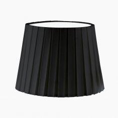 Lampenschirm aus Textilgewebe - Plisse in Schwarz - Höhe 17 cm - Durchmesser 24,5 cm