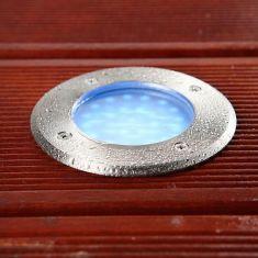 LED Bodeneinbaustrahler, 24er LED blau, mattes Glas