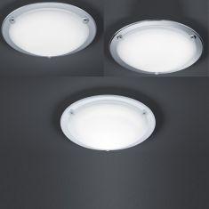 LED Deckenleuchte mit satiniertem Glas Chrom Ø 30cm
