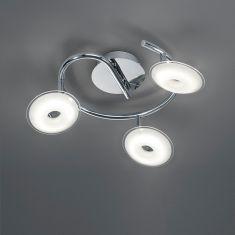 LED Deckenleuchte - Rondel - 3-flammig - Chrom - Acrylglasschirme -  Inklusive LED 3 x 3,8 Watt  1050 Lumen  3000 Kelvin + Extra 1x GU10 LED Leuchtmittel zur freien Nutzung