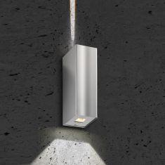 LED-Up & Down-Wandleuchte mit asymetrischem Lichtbild aus hochwertigem Edelstahl 2x 3W 280lm 3000K