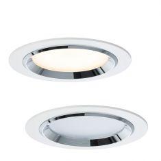 LED Einbauleuchten 3er Set, je 8W, Weiß/Chrom chrom/weiß, glänzend