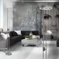 LED Fluter aus Stahl mit Lesearm und Drehdimmer
