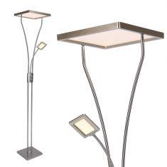 LED Fluter Marian Stahl mit Lesearm und Dimmer H 195cm