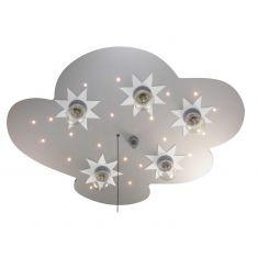 LED Kinderzimmer Wolke aus Holz titanfarben lackiert und mit Sternenhimmelfunktion