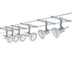 LED Komplett-Seilsystem für individuelle Lichtlösungen, Chrom-Opal , max. 5 Meter, inklusive 6 x 4Watt Spots, 10Meter Seil und Trafo