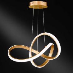 LED Pendelleuchte Indigo Blattgold-Optik