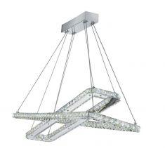 LED Pendelleuchte, Chrom mit Kristallglas - 2 variable Ebenen