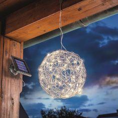LED Solarleuchte Alu-Wireball mit warmweißem Licht