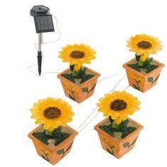 LED Solarleuchte Sonnenblumen aus Kunststoff im 4er Set