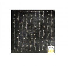 LED Weihnachtsbeleuchtung, Lichtervorhang Eisregen, System für Innen und Außen, 100 LED warmweiß