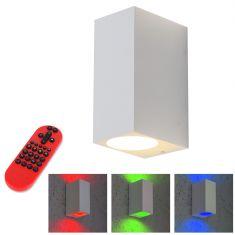 LED-Außenwandfluter weiß, eckig  - einstellbarer Abstrahlwinkel inkl. LEDS und Fernbedienung