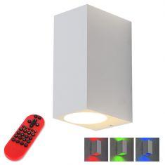 LED-Außenwandfluter weiß, eckig  - inkl. LEDS und Fernbedienung