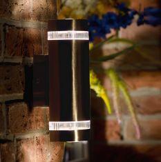 LED-Außenwandleuchte mit up-and downlight, 7,6 Watt, Edelstahl