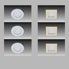 LED-Aufbauleuchten 3er Set - in Rund oder Quadratisch - 3x 18LED á 0,066W Warmweiß 55 Lumen pro Watt - mit Vorschaltgerät und Steckerzuleitung