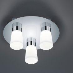 LED-Badezimmer-Deckenleuchte IP44 in Chrom glänzend, Opalglas weiß - inklusive SMD 3 x 4,5W OSRAM-LED A+, warmweiß 3000°K + Extra 1x GU10 LED Leuchtmittel zur freien Nutzung
