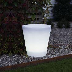 LED-Blumentopf in Weiß, Höhe 40cm