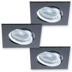 LED-Decken Einbaustrahler 3er-Set Metall  Schwarz