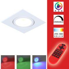 LED-Decken-Einbaustrahler alu eckig weiß inkl. Fernbedienung