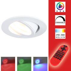 LED-Decken-Einbaustrahler alu rund weiß inkl. Fernbedienung