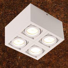 LED Deckenleuchte Aluminium Weiss QPAR51 4x 7W 2700K 556lm