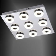 LED-Deckenleuchte Chrom /Glas - 9 x 4,2Watt LED