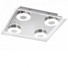 LED-Deckenleuchte Chrom /Glas - 4 x 6Watt LED
