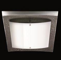 LED-Deckenleuchte in Dunkelbraun/ Aluminium mit glänzender Glasblende