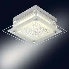 LED-Deckenleuchte Leah eckig, funkelnde Kristalle, 3 Größen