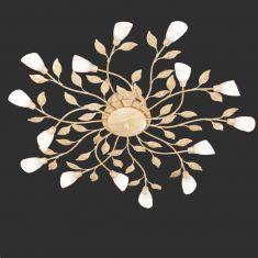 LED-Deckenleuchte Reposa in floraler Optik, weiß-antik 15x 1,1 Watt, altweiß/weiß