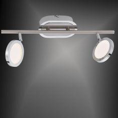 LED-Deckenleuchte Stahl/Chrom - inklusive High-Power 2x 4,6Watt LED Board - warmweißes Wohnlicht, 3000K