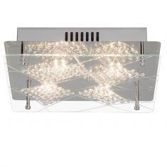 LED-Deckenleuchte, dekorative Glaselemente und Metall verchromt, 4 x4Watt