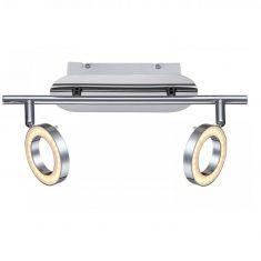 LED-Deckenleuchte, Metall glänzend verchromt, inklusive 2 x LED  - 10W - 400lm, 3000°K