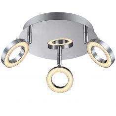 LED-Deckenleuchte, Metall glänzend verchromt, inklusive 3 x LED  - gesamt 15W - 400lm, 3000°K