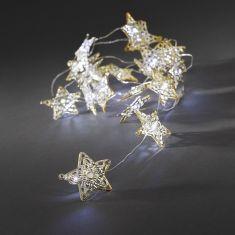 LED - Dekolichterkette - 20 goldene Metallsterne - Batteriebetrieben - Innen - Kalt weiße Dioden