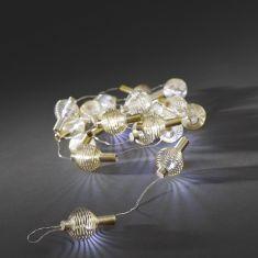 LED - Dekolichterkette - 20 kaltweiße Dioden - goldene Metallbälle -  Batteriebetrieben - Innen