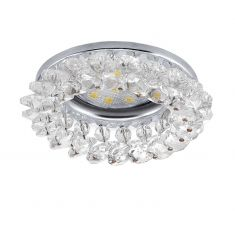 LED-Einbauleuchte, chrom / Kristall, LED GU10,1x3Watt